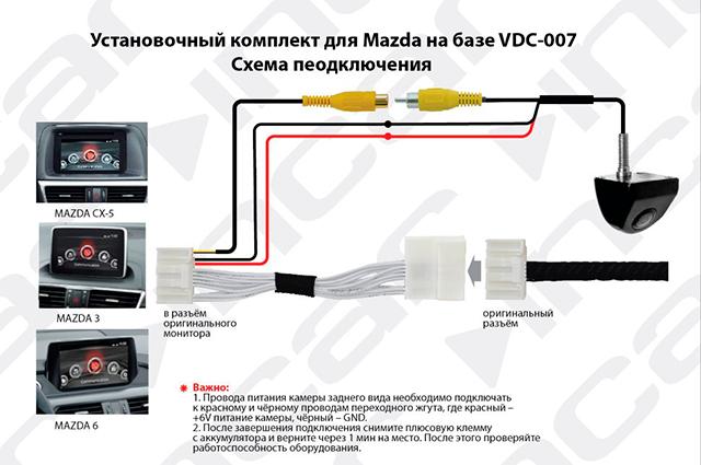 Камера Incar MZ VDC-007 для оригинального ГУ MAZDA 3 (2014+), 6 (2015+), CX-5 (2015+)